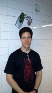 Elias Bonaros in the Manhattan Subway new a Cicada Tile Mosaic