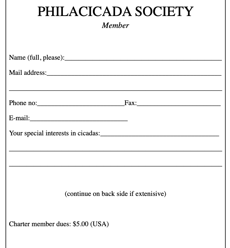 old Philacicada society form